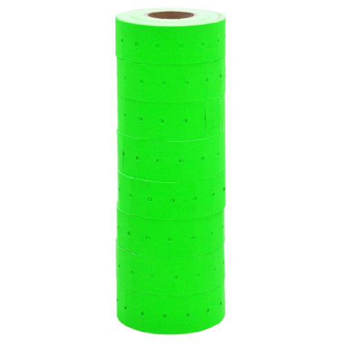 Fluorescent Tamper (Fluorescent Green Labels with No Tamper Proof Slits to fit Motex® MX5500 Price Guns 16 pack (Free ink roll included))