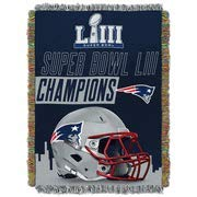 The Northwest Company Officially Licensed NFL New England Patriots Super Bowl 53 Champions Woven Tapestry Throw Blanket, 48