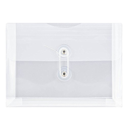 (JAM PAPER Plastic Envelopes with Button & String Tie Closure - Index Size - 5 1/2 x 7 1/2 - Clear - 12/Pack)