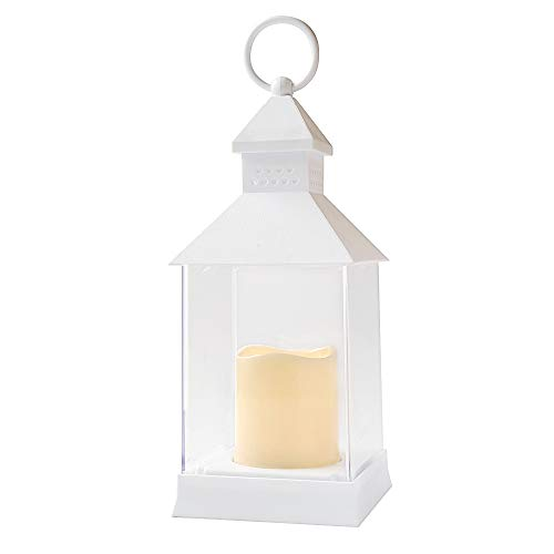 DRomance Decorative Candle Lantern with 6 Hour Timer Battery Operated Flameless Flickering Candles, Waterproof Heat Resistant Hanging LED Pillar Candle Lantern Outdoor Indoor Decor(White, 4