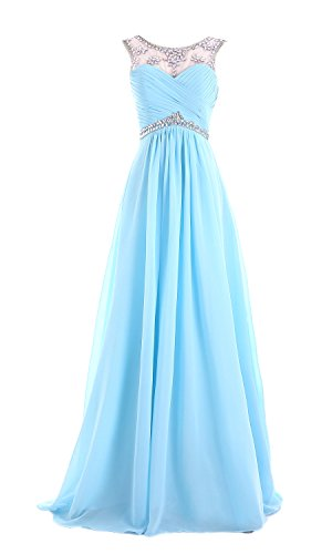 A Abend blue dress49 Chiffon missydress Line 'bridesmaid Damen Edelsteinbesetztes Ball Aque wxfqqYTIv