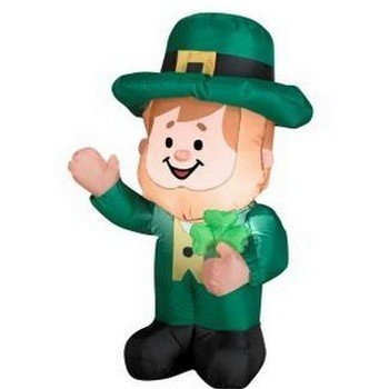 GEMMY AIRBLOWN INFLATABLE 3.5' LEPRECHAUN HOLDING SHAMROCK OUTDOOR INDOOR HOLIDAY DECORATION by (Outdoor Inflatable)