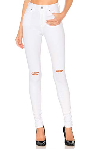 H HIAMIGOS Women's Pants Skinny Jean High Waist Jegging Stretchy Trousers Casual, Business, Office (24,White - Knee Ripped)