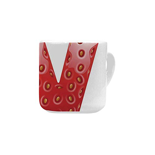 Letter W White Heart Shaped Mug,Capital W with Strawberry Green Leaves Harvest Yield Pattern Alphabet Decorative for Home,2.56