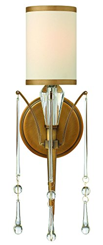Fredrick Ramond Crystal Sconce (Fredrick Ramond FR44500BBZ One Light Crystal Accents Glass Brushed Bronze Off-White Cinnamon Trimmed Silk Shade Wall)