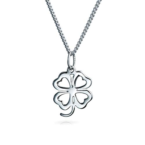 - Lucky Four Leaf Clover Heart Flower Shamrock Good Luck Pendant Charm Sterling Silver Necklace For Women 18 In