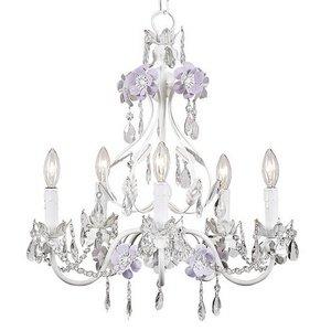 446 5 Arm Flower Garden Chandelier, Lavender/White ()