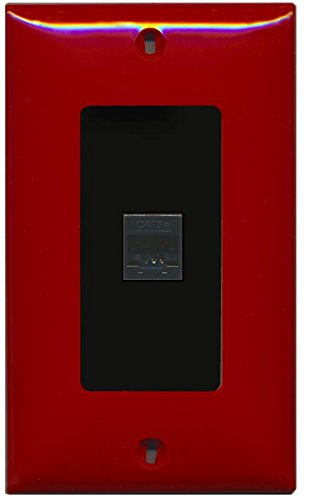 RiteAV Decorative 1 Gang 1 Port Cat5e Wall Plate - Red/Black (Red Wall Cat5e Plate)