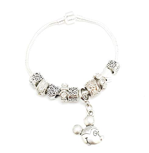 Mickey Mouse All Silver Pandora style Disney Birthday Anniversary 90 Charm Bangle, Expandable Stainless Steel Jewelry, Bracelet Customized Personalized Gift, Silver European Large Mickey (Personalized Disney Jewelry)