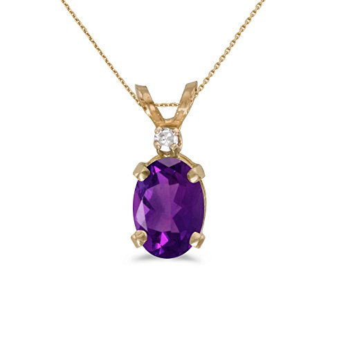 - 10k Yellow Gold Oval Amethyst And Diamond Pendant with 16