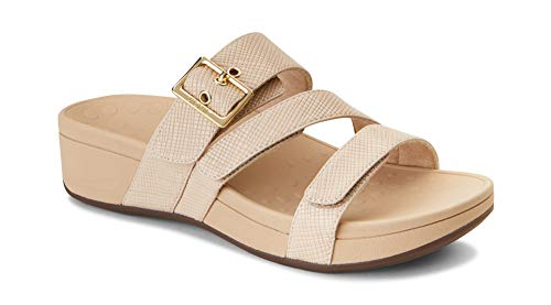 Vionic Women's Pacific Rio Platform Sandal - Ladies Adjustable Slide Sandal with Concealed Orthotic Arch Support Nude Lizard 7 M US