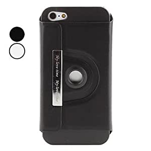 ZXC 360 Degrees Rotatable PU Leather Case with Stand for iPhone 5 (Assorted Colors) , Black