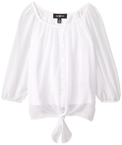 Amy Byer Big Girls' Tie-Front Chiffon Top, White, X-Large