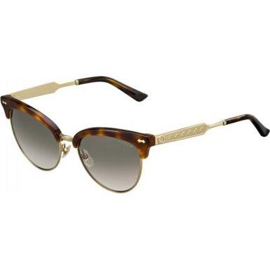 Gucci Women's Damascato Cat Eye Sunglasses, Dark Havana/Brown, One - Havana Sunglasses Gucci Dark
