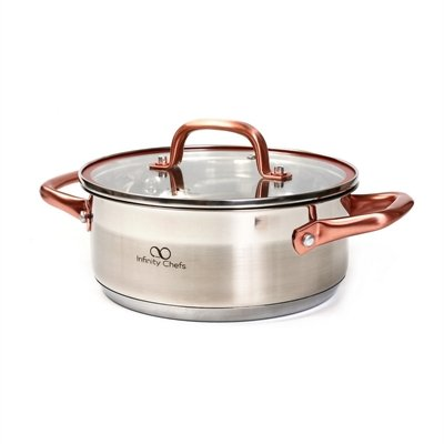 Infinity Chefs 8 Inch Casserole With Lid Full Induction PFOA Free Non stick