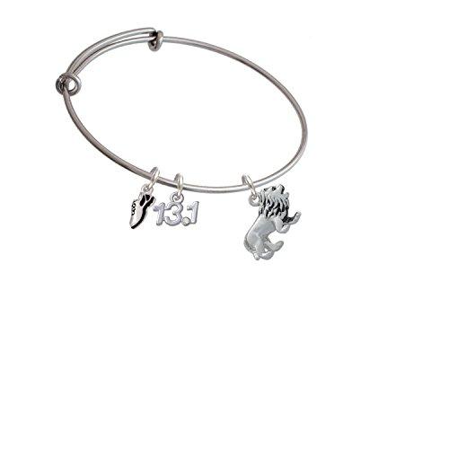 Silvertone 3-D Lion Running Shoe and 13.1 Expandable Bangle Bracelet