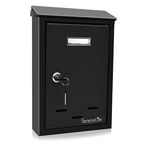 Personalized Wall Mounted Mailbox Package - Modern Wall Mount Locking Mailbox - Indoor Outdoor Universal Vertical Mounted Mail box - Galvanized Large Capacity Home/Office Business Drop Slot with Secure Lock Keys - Serenelife SLMAB24 (Black)