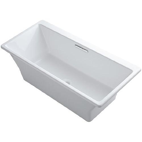 Kohler K 819 F62 0 Reve 5 5Ft Freestanding Bath With Brilliant Blanc Base  White Cast Iron Bathtub Amazon Com