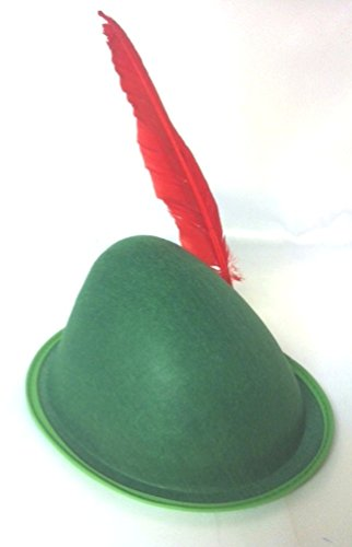 Alpine Felt Hat Adult Full Head Size in 4 colors with Turkey Feather (Green Hat/Red Feather)