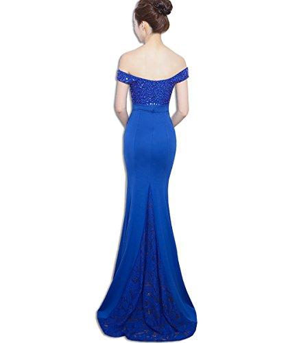Vestido Novia De Noche Elegante Encaje Azul Kaxidy Vestidos Largos Mujer 7xnw0U