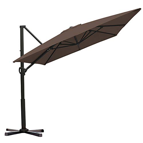 Abba Patio Rectangular Offset Cantilever Outdoor Patio Hanging Umbrella with Cross Base, 8 x 10-Feet, Cocoa ()