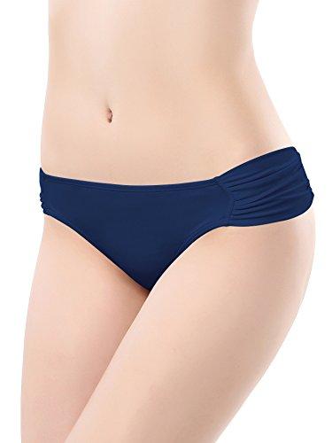 SHEKINI Swimwear Shirred Side Low-Rise Hipster Bikini Bottom for Women (Medium/(US 8-10), Malibu Blue)