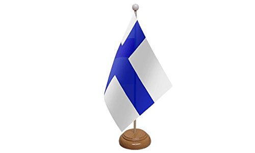 22, 9 x 15, 2 cm Finlandia finlandese grande tavolo bandiera da tavolo con base in legno e palo ideale per party conferenze ufficio display UK Flag Shop