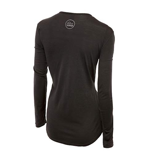 (Merino Wool Women's Long Sleeve Top |Crew Neck Shirt | Lightweight | Moisture Wicking | Top Base Layer | Small Grey)