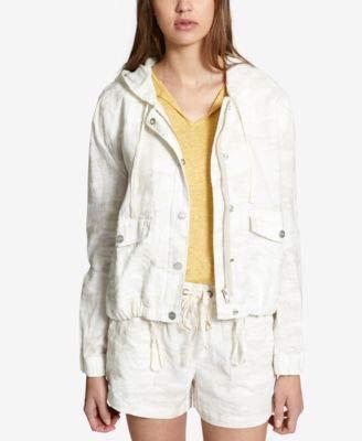 (Sanctuary Womens Linen Camouflage Jacket White M)