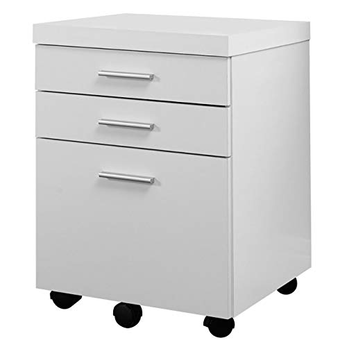 White Hollow-Core 3 Drawer File Cabinet on Castors ()