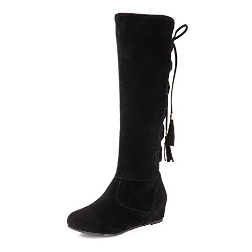 Allhqfashion Women's Imitated Suede High-top Solid Lace-up Kitten-Heels Boots Black