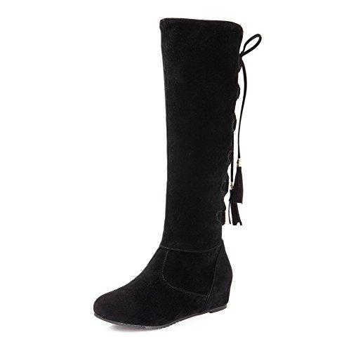 AllhqFashion Mujeres Gamuza(Imitado) Caña Alta Sólido Cordones Tacón Medio Botas Negro