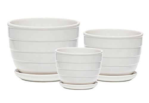 Ceramic Plant Pot - Indoor Garden Flower Planter Pots with Saucers, 4 6 7 Inch Set of 3 (White Rotation) by Lakemo