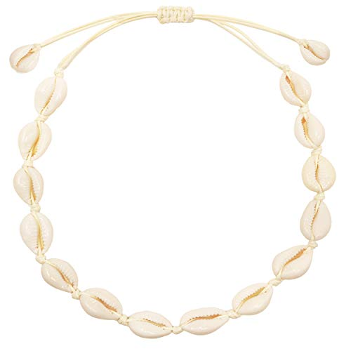 CUSVUEVI Women's Natural Cowrie Shell Necklace, Handmade Shell Choker Adjustable Necklace Hawaii Beach Boho Jewelry(White-Adjustable)