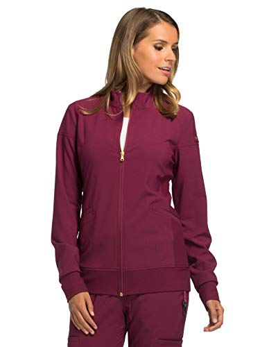 Cherokee iFlex CK303 Zip Front Warm-Up Jacket Wine XL (Scrub Jackets For Nurses)