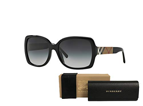 Burberry BE4160 34338G 58M Black/Grey Gradient Square Sunglasses For Women+FREE Complimentary Eyewear Care Kit (Burberry Key Case)