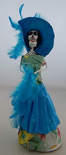 COLOR Y TRADICIÓN Mexican Catrina Doll Day of Dead Skeleton Paper Mache Dia de Los Muertos Skull Folk Art Halloween Decoration # 820 for $<!--$17.99-->