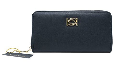 New Bebe Logo Zip Around Wallet Purse Hand Bag Black Olivia Gold Hardware (Bebe Clutch)