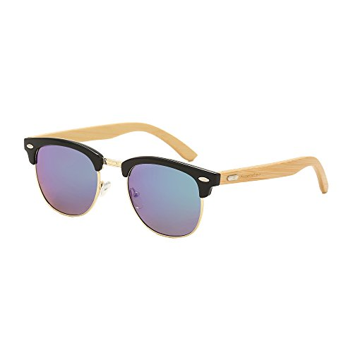 Sunny&Love Unisex Wooden Bamboo Sunglasses Temples Half Frame - Sunglasses Wooden Wholesale