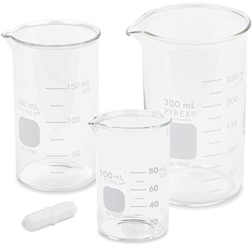 Corning Pyrex, Glass Beaker Set with Magnetic Stir Bar, Berzelius Tall Form - 3 Sizes - 100, 200, and 300ml