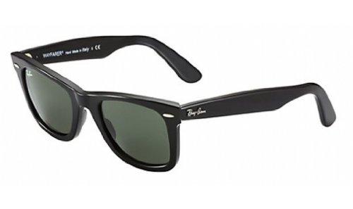 Crystal Green Sunglasses (Ray-Ban Men's RB2140F Wayfarer Sunglasses Matte Black / Crystal Green 54mm)