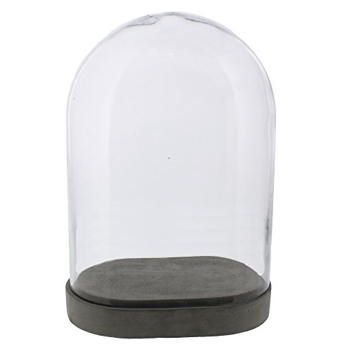 Rustic Oval Cement Pedestal Cloche Set | Dome Small Minimalist Stone (Oval Accent Cabinet Small)