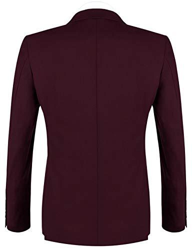 YIMANIE Men's Suit Slim Fit 2 Button 3 Piece Suits Jacket Vest & Trousers Dark Red