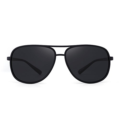 Retro Polarized Aviator Sunglasses Mirror Lightweight Eyeglasses for Men Women (Matte Black / Polarized - Aviators Matte Black
