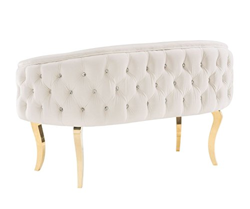 "Tov Furniture The Adina Collection Contemporary Living Room Velvet Upholstered Loveseat, White with Gold Legs - Exceptionally Sized: This Loveseat from The Adina Collection Measures 55.5""W x 27.3""D x 18.5""H With A Weight Of 58.6lbs. To Perfectly Fit A Variety To Perfectly Fit A Variety Of Areas In Your Living Room, Salon, or Den Area. This Beautiful Loveseat Requires Only Minor Assembly Upon Delivery. Built For Uncompromised Luxury: The Adina Loveseat Was Designed With Luxury In Mind, Boasting An Incredibly Soft Velvet Upholstery, and A Set Of Stylish Stainless Steel Legs That Provide Both A Great Look and Unmatched Durability Designed With A Contemporary Sensibility: This Loveseat From The Adina Collection Features A Beautiful White Velvet Upholstery That Includes A Crystal Tufted Wrapped Back. The Stainless Steel Legs Feature A Stylized, Curved Design and Gold Finish That Truly Makes This Loveseat Pop In Your Living Room. - sofas-couches, living-room-furniture, living-room - 31A1%2BV XApL -"