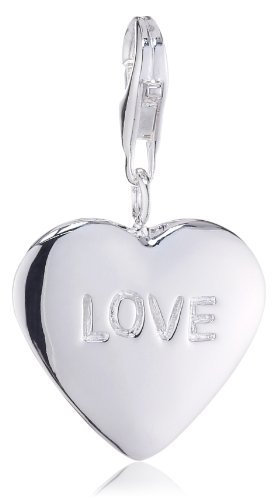 VINANI brand Germany 925 Sterling Silver Charm Pendant Heart large shiny Inscription Love HHGH