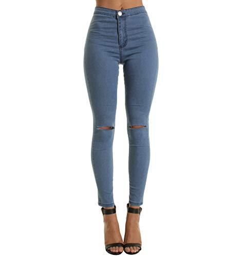 Cayuan Jeans a  Taille Haute Femmes Genou Dchirs Denim Pantalons Skinny Stretch Jeans Leggings Collants Loisirs Marine
