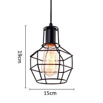 ANYE Antique Art Vintage Black Iron Cage Pendant Lamp Retro Style Ceiling Mini Pendant Fixture Iron Chain with 15ft UL Dimmable Cord Bulb Not Included TB0005-TL