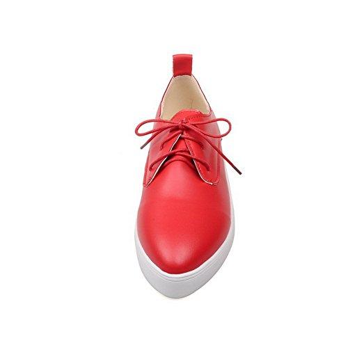 Ballet Basso Luccichio flats Tacco Rosso Voguezone009 Donna Allacciare Tonda Punta wq0gA