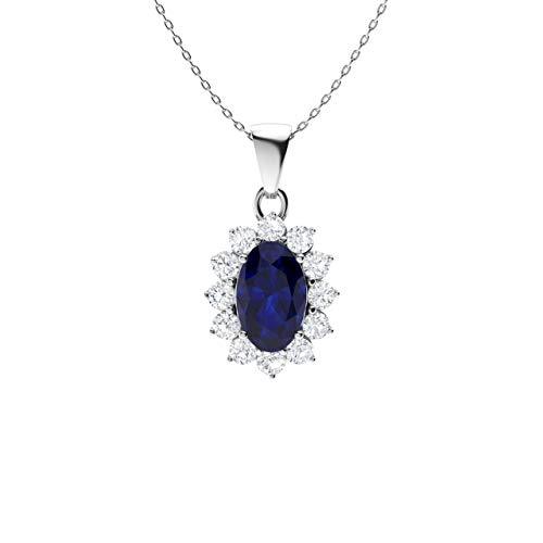 Diamondere Natural and Certified Oval Blue Sapphire and Diamond Petite Necklace in 14k White Gold | 0.28 Carat Pendant with Chain